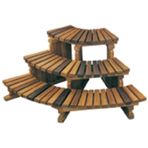 3-Tier Hot Tub Corner Cedar Step